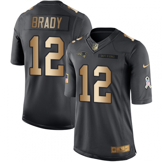 new product fadc9 c28aa Men's Nike New England Patriots #12 Tom Brady Limited Black ...