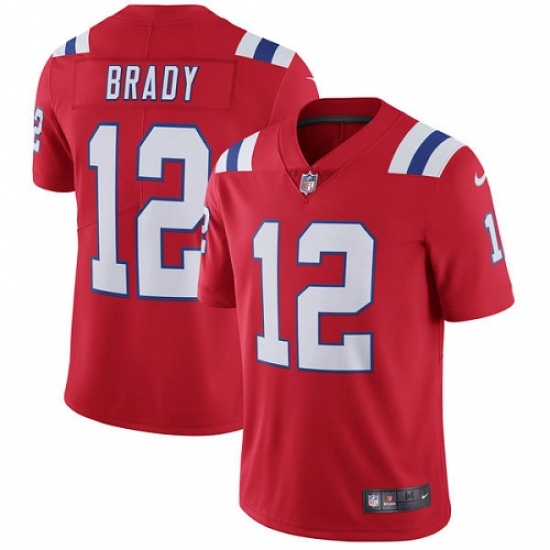 Wholesale Men's Nike New England Patriots #12 Tom Brady Red Alternate Vapor