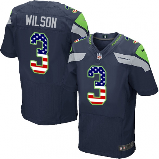 Men s Nike Seattle Seahawks  3 Russell Wilson Elite Navy Blue Home USA Flag  Fashion NFL 4500373c5