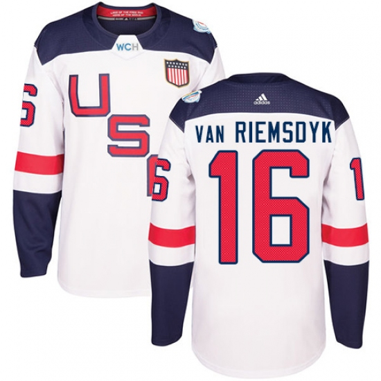 premium selection 3f81a 66f56 Men's Adidas Team USA #16 James van Riemsdyk Authentic White ...