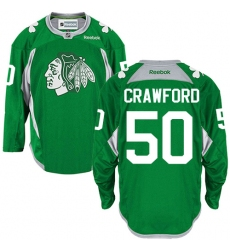 236295549 Men s Reebok Chicago Blackhawks  50 Corey Crawford Authentic Green Practice  NHL Jersey