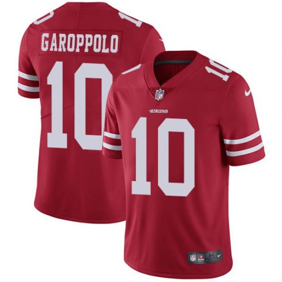 6b34fdd546c Men s Nike San Francisco 49ers  10 Jimmy Garoppolo Red Team Color Vapor  Untouchable Limited Player