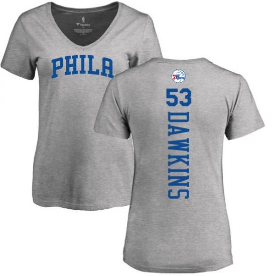 5e9e99a64 NBA Women s Nike Philadelphia 76ers  53 Darryl Dawkins Ash Backer T-Shirt