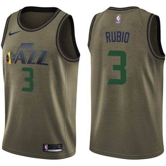 536a7c677 Men s Nike Utah Jazz  3 Ricky Rubio Swingman Green Salute to Service NBA  Jersey