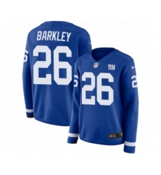 978d5d2a2 Women's Nike New York Giants #26 Saquon Barkley Limited Royal Blue Therma  Long Sleeve NFL