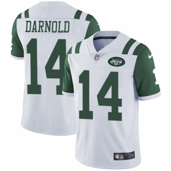 new product 4515e a5908 Men's Nike New York Jets #14 Sam Darnold White Vapor ...