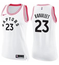 df475ebbdd0 Women s Nike Toronto Raptors  23 Fred VanVleet Swingman White Pink Fashion  NBA Jersey