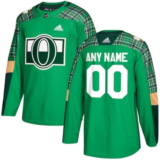 2ed5b313fd3 Men s Ottawa Senators adidas Green St. Patrick s Day Custom Practice Jersey