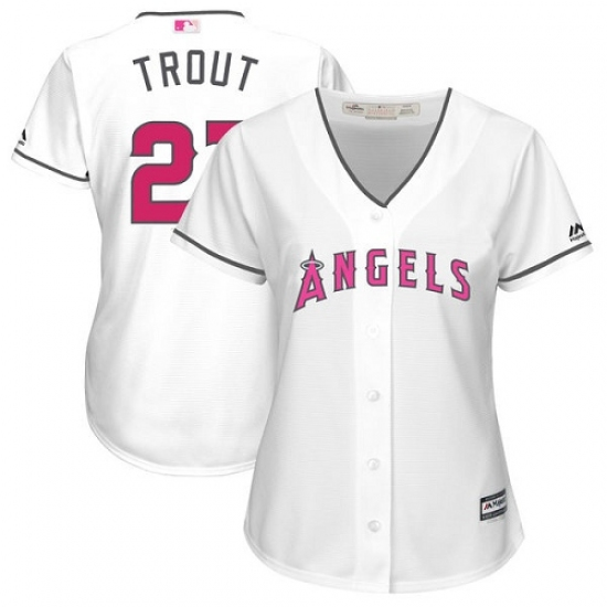 d243fea51b1 Women s Majestic Los Angeles Angels of Anaheim  27 Mike Trout Replica White  Mother s Day Cool