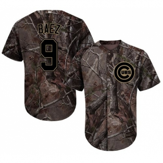 6a9593313 Youth Majestic Chicago Cubs  9 Javier Baez Authentic Camo Realtree Collection  Flex Base MLB Jersey