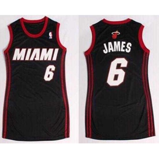 dfe0b63df Women NBA Heat  6 LeBron James Black Dress NBA Jersey ...