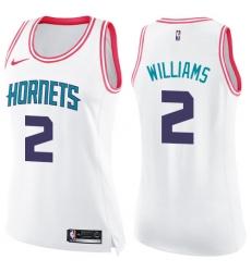 a56a392c3 Women s Nike Charlotte Hornets  2 Marvin Williams Swingman White Pink  Fashion NBA Jersey