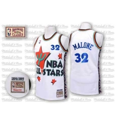 Men s Adidas Utah Jazz  32 Karl Malone Authentic White 1995 All Star  Throwback NBA Jersey b46214f62