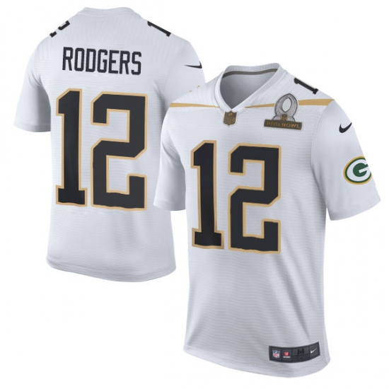 Hot Men's Nike Green Bay Packers #12 Aaron Rodgers Elite White Team Rice  for sale