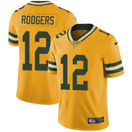 hot sale online b30ca c20bd Men's Nike Green Bay Packers #12 Aaron Rodgers Limited Gold ...