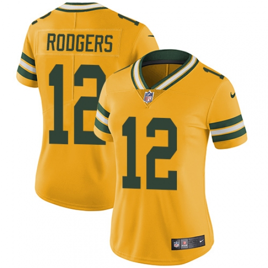315406bb8 Women's Nike Green Bay Packers #12 Aaron Rodgers Limited Gold Rush Vapor  Untouchable NFL Jersey